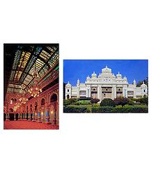 Amba Vilas and Jagmohan Palace, Mysore - Set of 2 Postcards