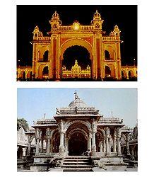 Mysore Palace and Hutheesing Jain Temple - 2 Postcards