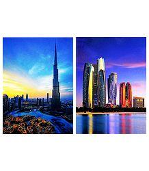 Burj Khalifa, Dubai and Etihad Towers, Abu Dhabi - Set of 2 Postcards