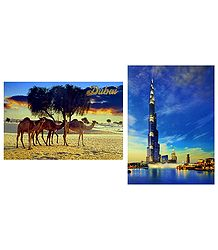 Burj Khalifa and Desert, Dubai - Set of 2 Postcards