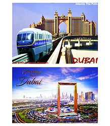 The Palm Jumeirah Monorail and Dubai Frame, Dubai - Set of 2 Postcards