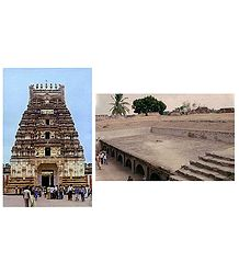 Sri Ranganatha Swamy Temple and Dunzeon, Srirangapatna  - Set of 2 Postcards
