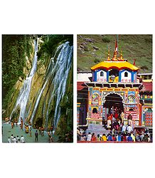 Kempty Falls in Mussoorie and Badrinath in Garhwal - Set of 2 Postcards