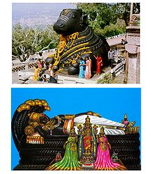 Nandi on Chamundi Hill and Sri Ranganathaswamy - Set of 2 Postcards