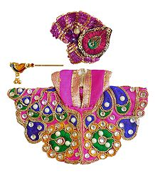 Multicolor Dress for 3 Inches Bal Gopal Idol