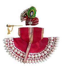 Shop Online Red Dress for 5 Inches Krishna Idol