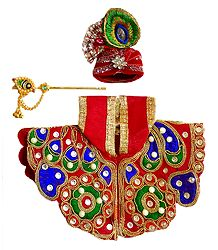 Red Dress for 4 Inches Bal Gopal Idol
