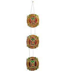 Pair of Paper Chandmala with Kalash Painting - Accessory to Hang from the Deity's Hands