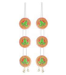 Red with Green Paper Chandmala for Deity