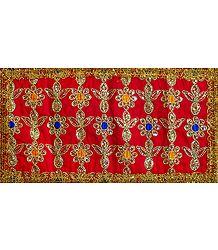Red Art Silk Matarani Chunni with Sequin and Golden Zari