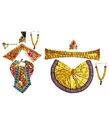 Set of 2 Dresses and Accessories for 8 Inches Radha Krishna Idols