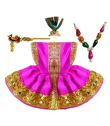 Magenta Dress and Accessories for 2 inches Bal Gopal Idol