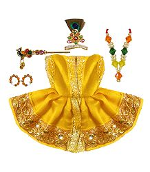 Yellow Dress and Accessories for 2 Inches Bal Gopal Idols