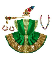 Green Dress and Accessories for 2 Inches Bal Gopal Idol