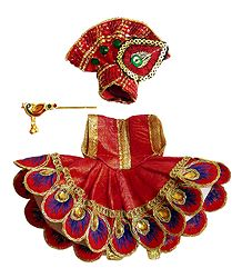 Red Dress for 3 Inches Bal Gopal Idol