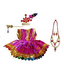 Magenta Dress for 2.5 Inches Bal Gopal Idol