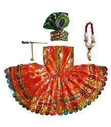 Saffron Dress for 5 Inches Bal Gopal Idol