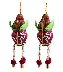Pair of Hanging Metal Kalash with Coconut