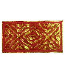 Red Synthetic Chunni with Golden Zari Work for Matarani