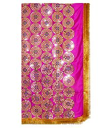 Magenta Silk Matarani Chunni with Sequin Work