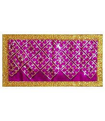 Magenta Art Silk Matarani Chunni with Sequin and Golden Zari
