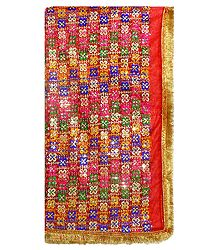 Multicolor Embroidery on Red Net Matarani Chunni with Sequin Work