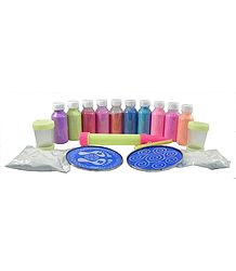 Set of 12 Colorful Rangoli Powder with Template and Applicator