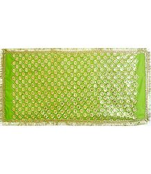 Green Art Silk Matarani Chunni with Sequin and Golden Zari Work