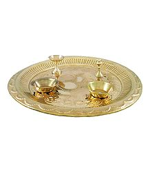Brass Thali with Ritual Accessories