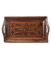 Wood Carved Puja Tray