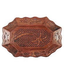 Wood Carved Puja Plate
