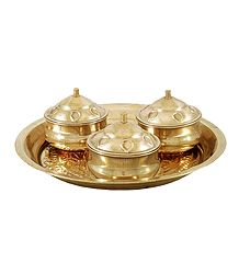 Brass Thali with Kumkum, Haldi and Chandan Containers