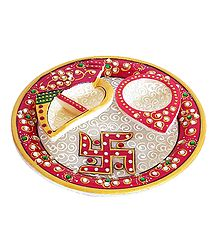 Marble Plate with Ritual Accessories
