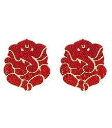 Set of 2 Acrylic Red Ganesha Sticker