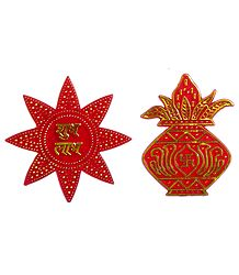 Acrylic Sticker Kalash and Shubh Labh on Star