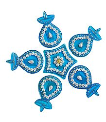 Blue Acrylic Sticker Rangoli