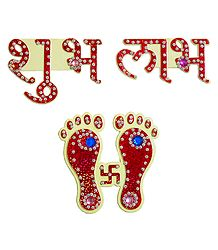 Red Acrylic Charan and Shubh, Labh Sticker
