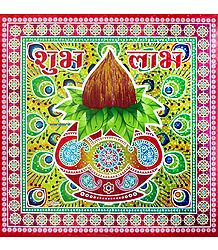 Buy Kalash with Coconut Print Sticker Rangoli