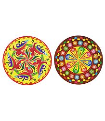 Set of 2 Colorful Sticker Rangoli Print on Paper
