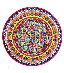 Rangoli Paper Sticker with Colorful Print