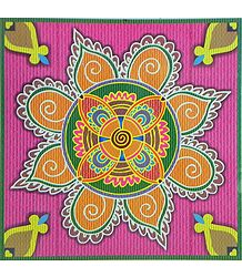 Colorful Rangoli Print on Glazed Paper Sticker