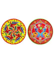 Pair of Multicolor Flower and Peacock Paper Sticker
