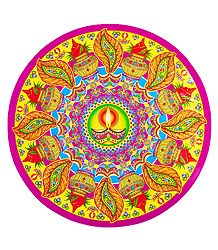 Diya and Kalash Design on Sticker Rangoli