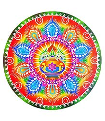 Kalash Print on Sticker Rangoli - Decorative Rangoli