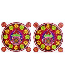 Pair of Rangoli Stickers with Flower and Kalash Print