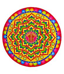 Colorful Alpana on Sticker Rangoli