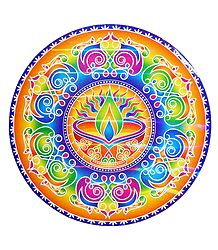 Diya Design on Glazed Paper Sticker