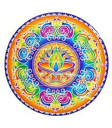 Diya Design on Glazed Paper Sticker