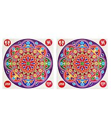 Set of 2 Multicolor Round Sticker