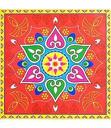 Colorful Square Alpana Print Sticker